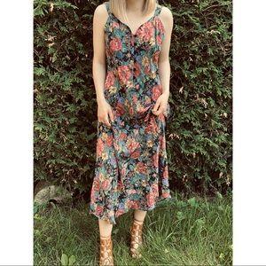 VINTAGE floral print cottagecore maxi dress